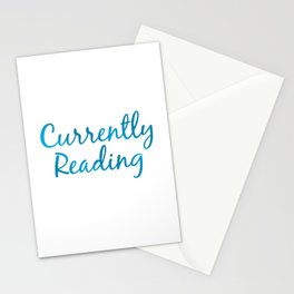 CURRENTLY READING blue Stationery Cards