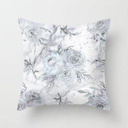 White marble rose garden Throw Pillow
