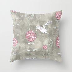 Hummingbird's Garden: Amongst the wild flowers Throw Pillow