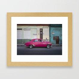 Vintage pink american car in the streets of La Havana, Cuba Framed Art Print