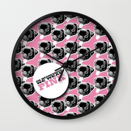 PUG SUKI - WE WEAR PINK PATTERN Wall Clock