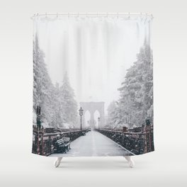 New York City and Brooklyn Bridge Winter/Christmas Shower Curtain