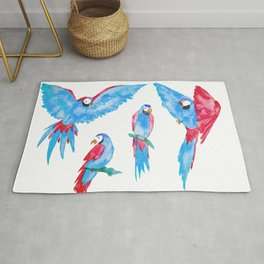 Happy Parrots - Blue and Pink Rug