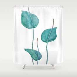 Adder's tongue fern painting Shower Curtain