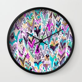 Abstract Colorful Feathers Wall Clock