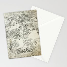 Berlin Streets and Buildings Map Antic Vintage Stationery Cards