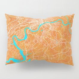 Knoxville, TN, USA, Gold, Blue, City, Map Pillow Sham