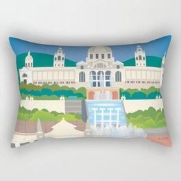 Barcelona, Spain - Skyline Illustration by Loose Petals Rectangular Pillow