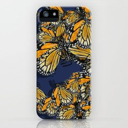 Butterfly Frenzy Spring Navy iPhone Case