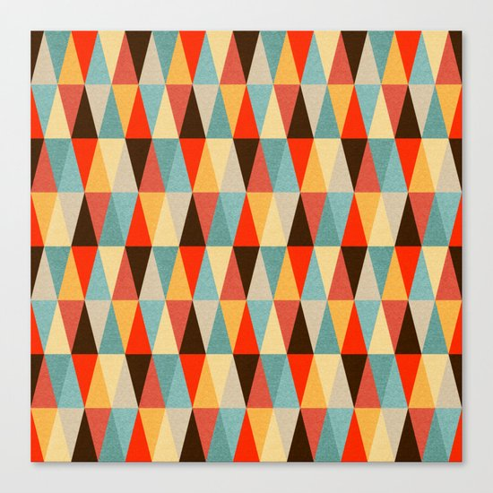 Red & Brown Geometric Triangle Pattern Canvas Print