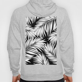 Palm Tree Fronds White on Black Hawaii Tropical Décor Hoody