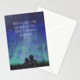When you Can't Look on the Bright Side, I will Sit with You in the Dark Mad Hatter Quote Art Stationery Cards