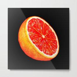 Grapefruit Pattern - Black Metal Print