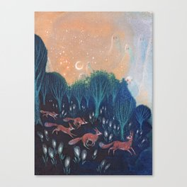 Night of the Foxes Canvas Print
