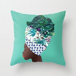 Tofo, Mozambique Capulana Lady Throw Pillow