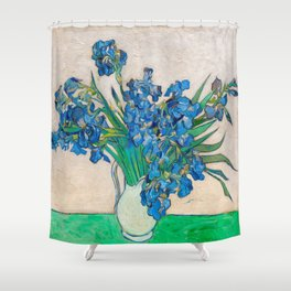 Irises by Vincent van Gogh Oil Painting Still Life Floral Arrangement In Vase Shower Curtain