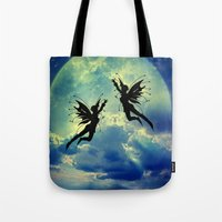 fairies Tote Bags featuring Moon Fairies by haroulita