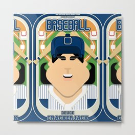 Baseball Blue Pinstripes - Deuce Crackerjack - Amy version Metal Print