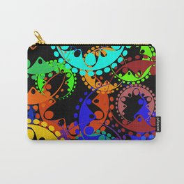 Texture of bright green and blue gears and laurel wreaths in kaleidoscope style on a black backgroun Carry-All Pouch