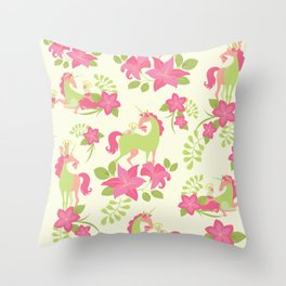 Floral Unicorn Meow-ment - Pink & Green Throw Pillow