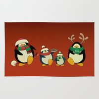 cartoons Area & Throw Rugs featuring Penguin family  by mangulica