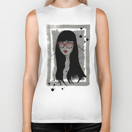 Never met a Hipster that really needs glasses Biker Tank