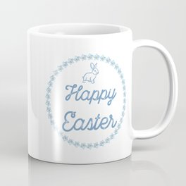 Happy Easter With Blue Bunny And Wreath Coffee Mug