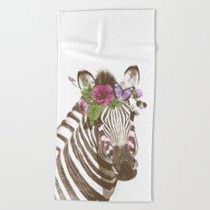 Zebra with flowers Beach Towel