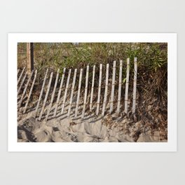 Beach fence with erosion Art Print