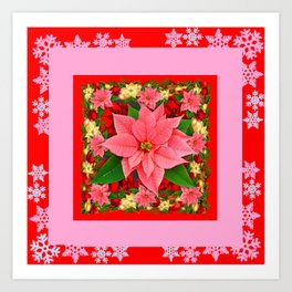 PINK SNOWFLAKES RED & PINK POINSETTIAS CHRISTMAS ART Art Print