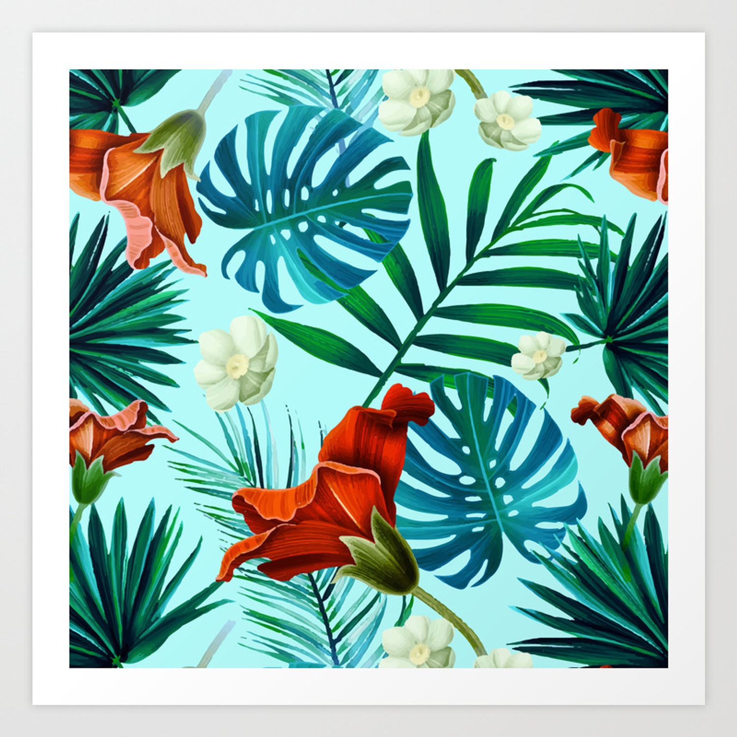Tropical Leaves And Flowers On Teal Background Art Print By Anastasiadesign Society6 Ferns, rubber fig trees and areca palms make the perfect houseplants. tropical leaves and flowers on teal background art print by anastasiadesign