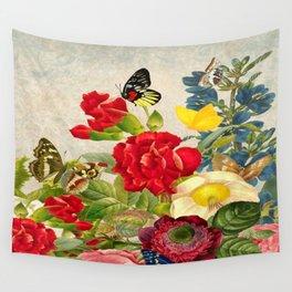 vintage flower butterfly art rose Wall Tapestry