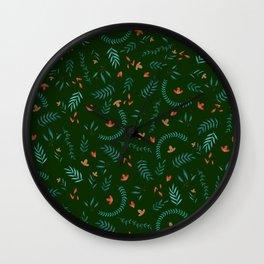Leaves in Hunter Green Wall Clock