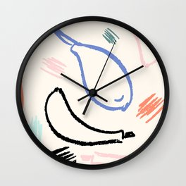 Abstract and expressive fruits brushstrokes. Hand drawn textures. Wall Clock