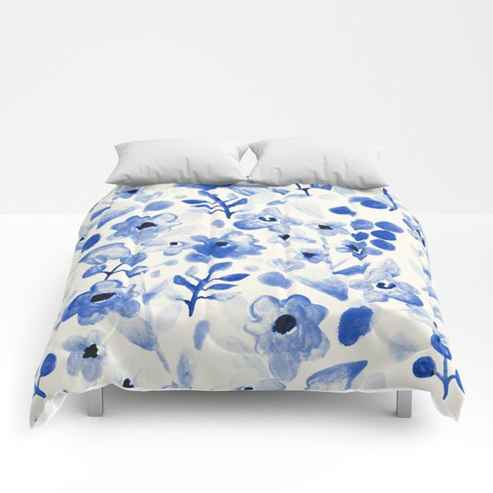Blue China - Watercolor Floral Comforters