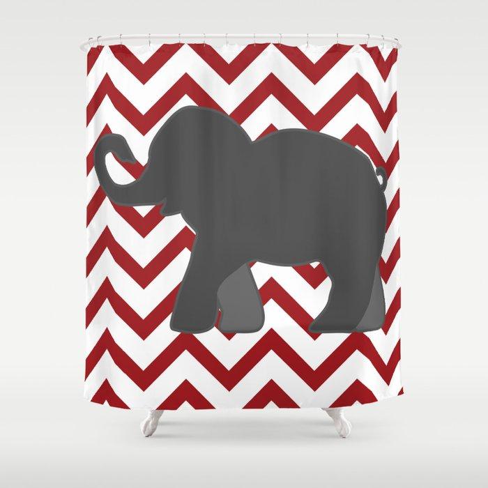 Roll Tide Elephant Crimson Alabama Shower Curtain