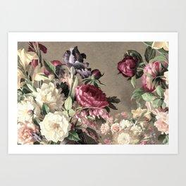 Vintage bouquet taupe burgundy Art Print