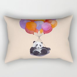 Panda flying with balloons Rectangular Pillow