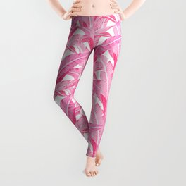 Pink banana leaves tropical pattern on white Leggings
