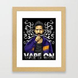 Vape On Illustration | Bearded Vaper | Mech Mod Framed Art Print