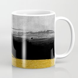Black and Gold grunge stripes on modern grey concrete abstract backround I - Stripe - Striped Coffee Mug