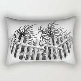 WIND IN YOUNG CYPRESS AND OLD FENCE MENDOCINO COAST DRAWING Rectangular Pillow