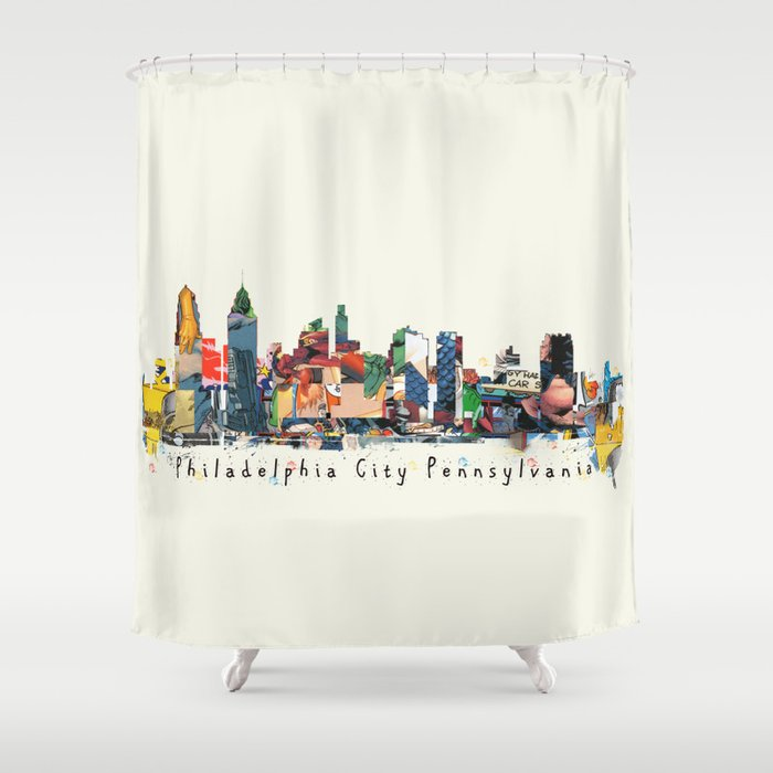 Philadelphia Skyline Comic Shower Curtain