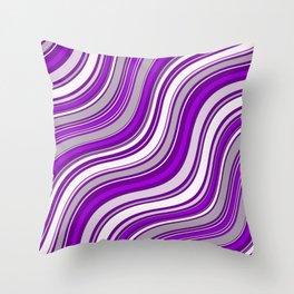Wavy Stripes Pattern: Purple Throw Pillow