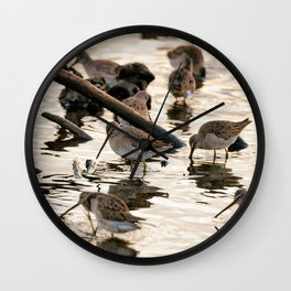 Sand Pipers At Sunset Wall Clock
