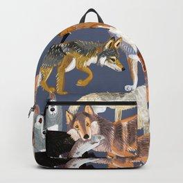 Wolves pattern in dark blue Backpack