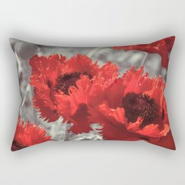 Big Red Watercolor Poppies on Grey Background Rectangular Pillow