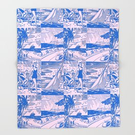 Midcentury Vacation Postcards in Pink + Blue Throw Blanket