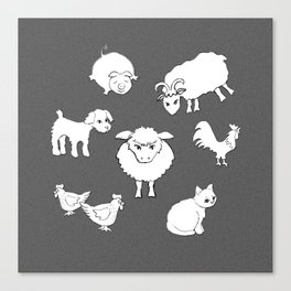 The Little Farm Animals, white on spotted grey Canvas Print