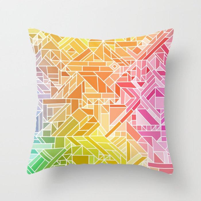 Bright Gradient (Hot Pink Orange Green Yellow Blue) Geometric Pattern Print Throw Pillow